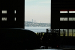 Looking out at the Seattle skyline through the massive factory doors. (Photo by Matt Molnar)