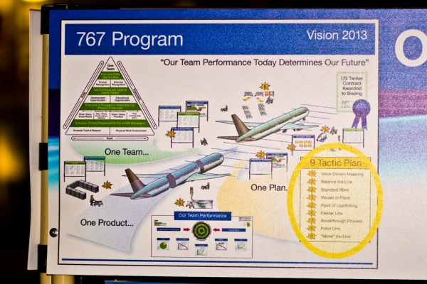 "A ""motivational\"" poster found on a tool box in the production bay. Note the final goal in the upper right is the 767 tanker contract."