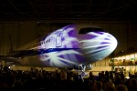 The plane with some lighting effects at the end of the ceremony.