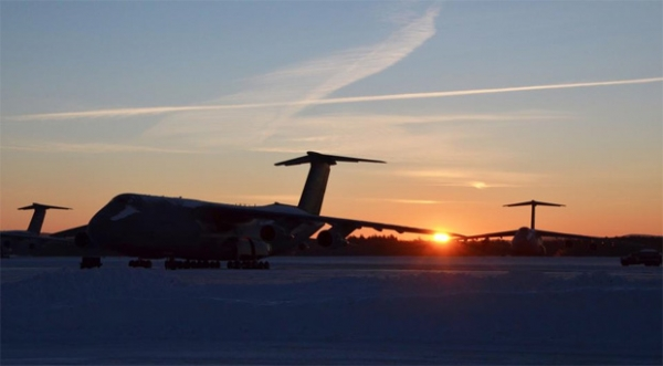 Snowy sunrise at Westover on the morning of gameday. (Photo by US Air Force/SrA. Kelly Galloway)
