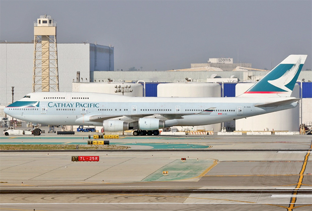 A Boeing 747-400 (B-HUD) taxis to a hardstand at Los Angeles (LAX)