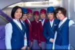 China Southern Airline cabin crew members are welcoming visitors of the first A380 delivered to the airline.