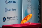 Silk umbrella at the delivery ceremony of the first A380 to China Southern Airlines.