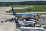 Continental jets, including a 777 painted by Peter Max, lined up at the airline's Houston hub.