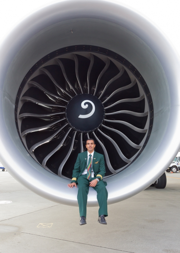 First Officer sitting in engine