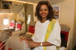 One flight attendant on every Ethiopian flight wears a traditional Ethiopian dress