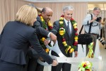Ribbon cutting for the flight from Dulles to Addis Ababa, Ethiopia. (Photo by Cary Liao)