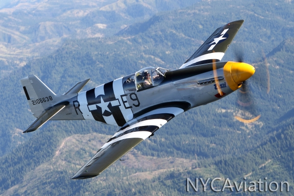 John Sessions flies HFF's P-51 Impatient Virgin over the foothills of the Cascades.