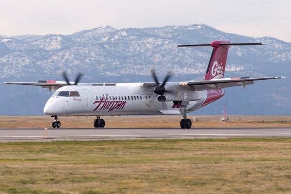 Horizon Air\'s new University of Montana plane touches down at Missoula.