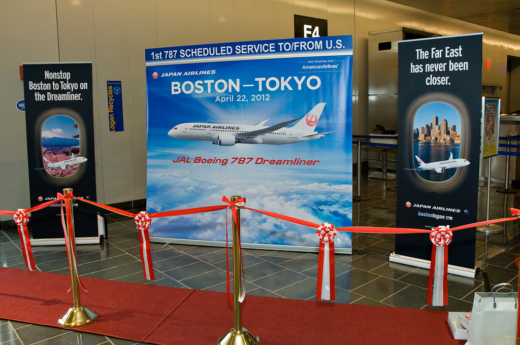Posters proclaim the milestone flight. (Photo by Bill Vogt/NYCAviation)