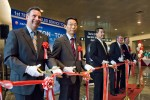 Ribbon cutting for the return flight to Tokyo. (Photo by Bill Vogt/NYCAviation)