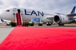 LAN's first Boeing 787 Dreamliner gets the red carpet treatment. (Photo by Dan King/NYCAviation)