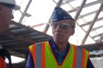 Special guest and decorated WWII Army veteran listens as construction staff describe the improvements at the new Tom Bradley International Terminal. (Photo by Stephen Shrank/NYCAviation)