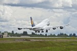 Lufthansa 747-8I takes off on its delivery flight to Frankfurt. (Photo by Boeing)