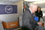Boeing pioneer Joe Sutter onboard the Lufthansa 747-8I. (Photo by Chris Sloan/Airchive.com)