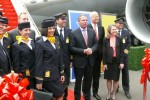 Ribbon cutting at Lufthansa 747-8I delivery event. (Photo by Chris Sloan/Airchive.com)