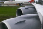 Wing and engines on the Lufthansa Boeing 747-8I. (Photo by Chris Sloan/Airchive.com)
