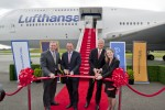 Lufthansa Boeing 747-8I delivery ribbon cutting. (Photo by Boeing)