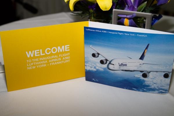 Lufthansa A380 greeting cards. (Photo by Eric Dunetz/NYCAviation)