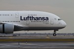 Lufthansa's A380 D-AIMB taxis to Terminal 1. (Photo by Eric Dunetz/NYCAviation)