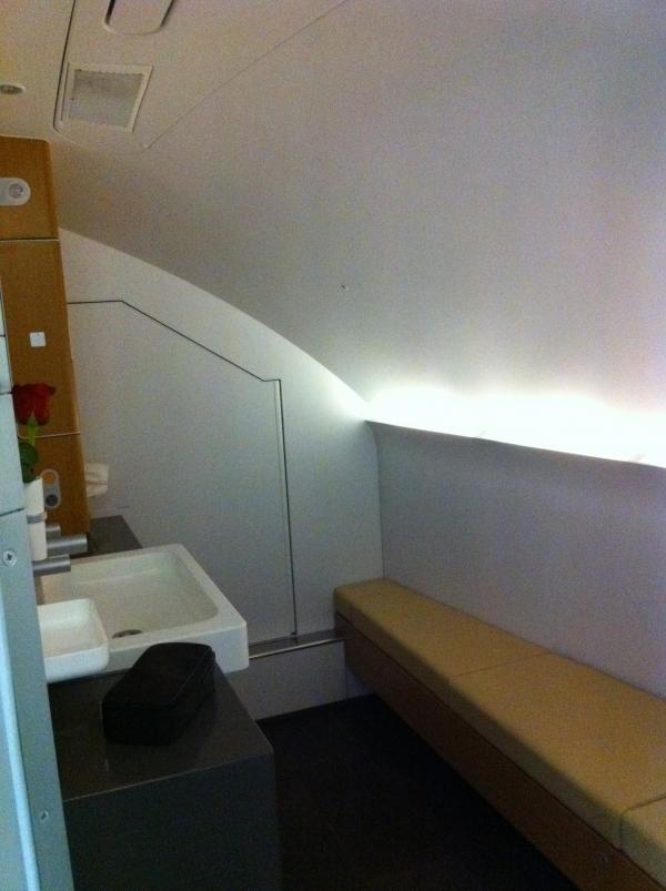 First Class bathroom. (Photo by Matt Molnar/NYCAviation)
