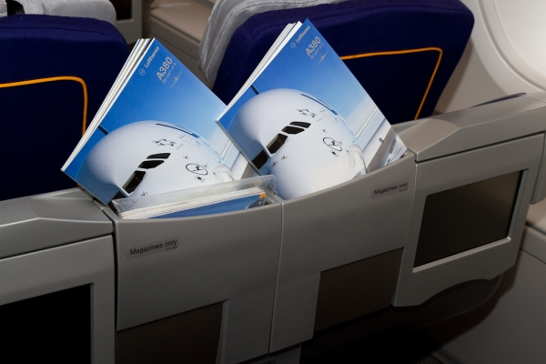 A380 safety cards. (Photo by Eric Dunetz/NYCAviation)
