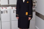 Lufthansa flight attendant, still looking chipper after over 11 hours on duty. (Photo by Eric Dunetz/NYCAviation)