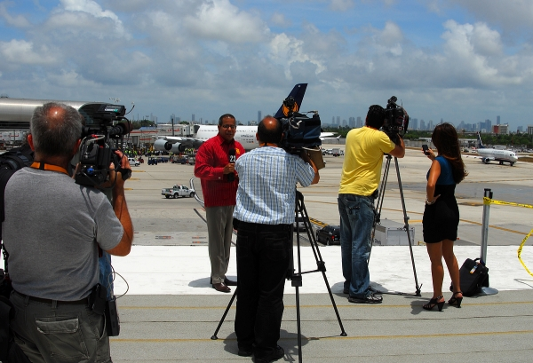Press and media from all over the area were present to cover the event. (Photo by Mark Lawrence)