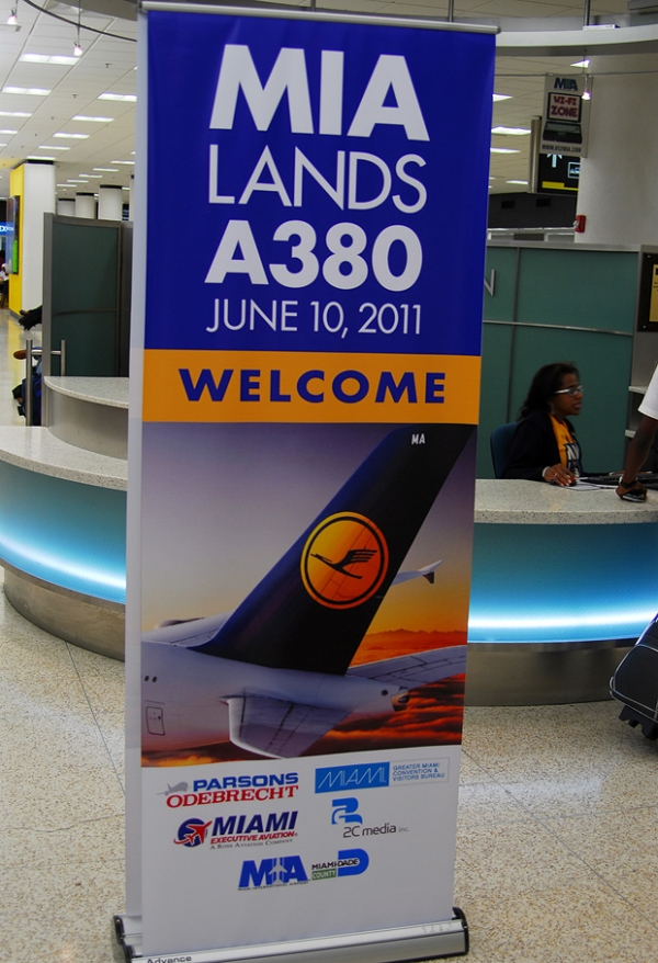 Sign welcoming guests in the terminal. (Photo by Mark Lawrence)