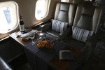 Bombardier Global 6000 dinner setup.