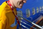 Southwest's Brooks Thomas deboards the airplane at OSH