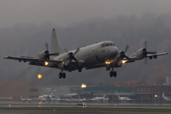 Takeoff on a rainy day