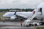 First production Airbus A320 with Sharklet wingtips on static display. (Photo by Airbus)