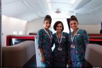 First class cabin crew of Malaysia Airlines Airbus A380. Cabin of Malaysia Airlines Airbus A380. (Photo by Airbus)