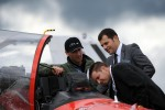 Taking a look at a Red Arrows cockpit. (Photo by Farnborough International)
