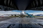 Nose of the A380 as seen from the rear door of the A400M. (Photo by Airbus)