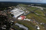 Another angle of the Farnborough International Airshow static display as seen from the sky. (Photo by Farnborough International)