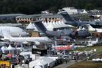 Dozens of planes on display at Farnborough. (Photo by Farnborough International)
