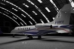Learjet 85 in the hangar.