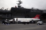 Learjet 85 mockup visits USS Intrepid.