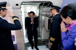 Capt. Montree Jumrieng, Thai Airways International's Executive Vice President, Technical Dept. enters the cabin for a visit inside THAI's no. 1 A380 – which was delivered by Airbus on 27 September 2012. (Photo by P. Pigeyre/Airbus)
