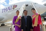The delivery ceremony for Thai Airways International's (THAI) first A380 included the presence of Capt. Montree Jumrieng, THAI's Executive Vice President, Technical Dept. (Photo by P. Masclet/Airbus)