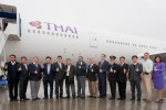 Thai Airways crew before the flyaway. (Photo by Liem Bahneman/NYCAviation)
