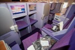 The Royal Silk Class seats, made by Sogerma, feature Panasonic EX2 15-inch AVOD screens. (Photo by Liem Bahneman/NYCAviation)