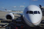 United's first 787 parked at the gate in Houston.  (Photo by Chris Sloan-Airchive.com)
