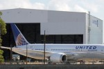 United's first Boeing 787 Dreamliner parked outside a Houston hangar. (Photo by Chris Sloan-Airchive.com)