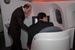 Qatar Airways CEO Akbar al Baker shows off the 787's business class seats to Qatar's Ambassador to the US, HE Mohamed Bin Abdulla Al-Rumaini. (Photo by Liem Bahneman/NYCAviation)