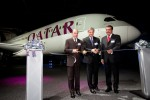 Boeing Commercial Airplanes CEO Ray Conner, Qatar Airways CEO Akbar al Baker and Qatar's ambassador to the United States Mohamed Bin Abdulla Al-Rumaini pose in front of the new Qatar Airways Boeing 787 Dreamliner. (Photo by Liem Bahneman/NYCAviation)