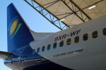 The tail section of Whiskey Fox, RwandAir's new 737-800, registered 9XR-WF.