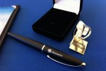 Ceremonial keys to the plane and a pen to sign the final documents handing over the plane to its new owners.